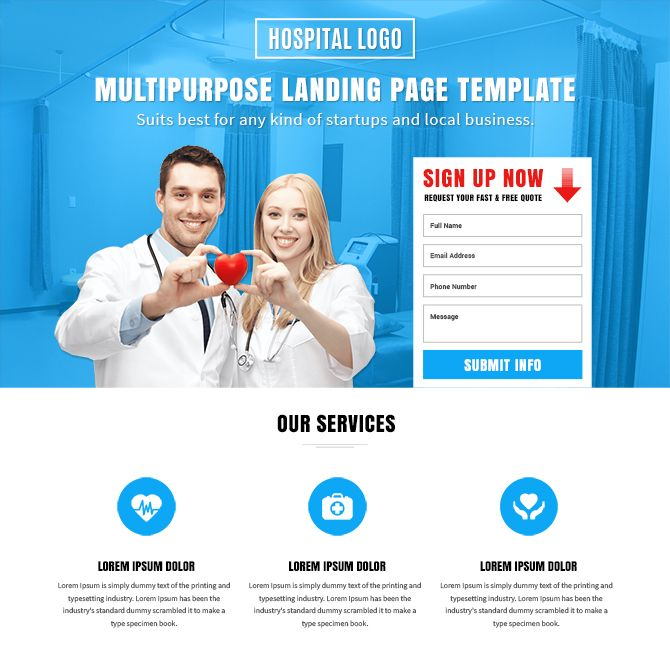 Purchase And Download Medical Insurance Landing Page Designs From