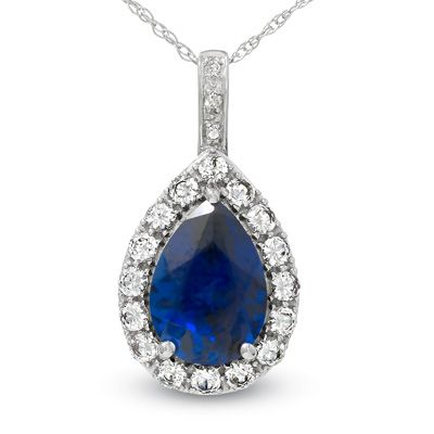 Pear shapedlab createdblueandwhitesapphireanddiamondaccent pear shaped lab created blue and white sapphire and diamond accent frame pendant in white gold zales aloadofball Image collections