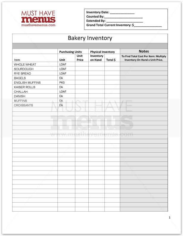 Bakery Inventory Form Page 1 Puwedeng Gawin