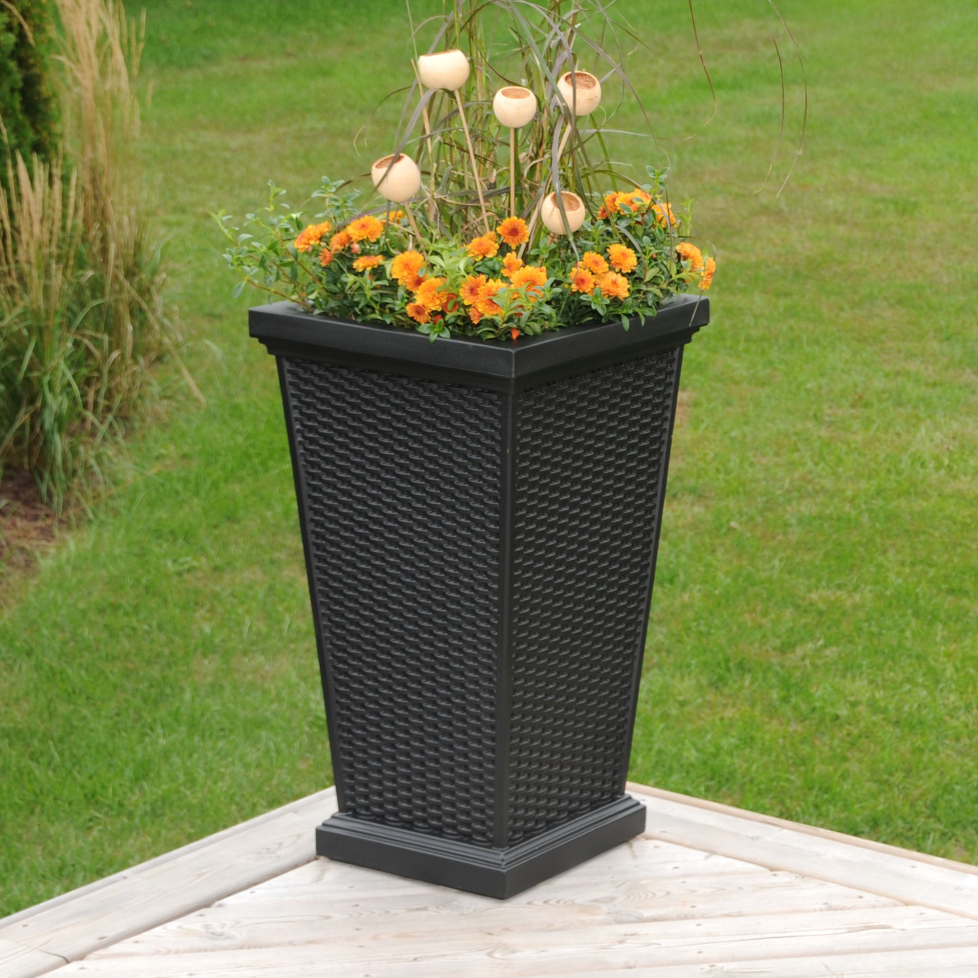 "Mayne Wellington 28"" tall patio planter in black! Made in the USA! www.gomayne.com"