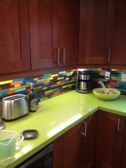 Bright Lime Green Countertops And A Gorgeous Glass Mosaic