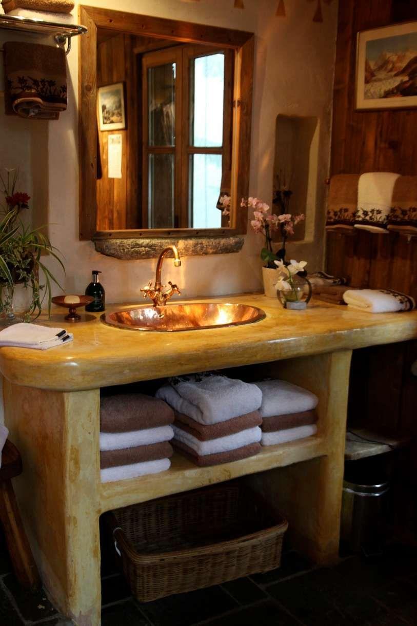 Chalet Salle de bains Rustique Bois Lavabo Robinneterie Bac, boîte ...
