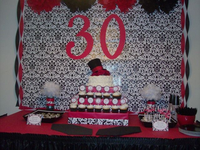 Red Black White Damask Birthday Party Ideas Nice Dessert