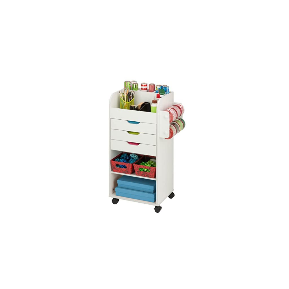 Honey Can Do Crt 06346 Rolling Craft Storage Cart With 3 Drawers White 19 13l X 33 62h 19 13 X 33 62 Sewing From A To Z In 2020 Craft Storage Cart Craft Storage Storage Cart