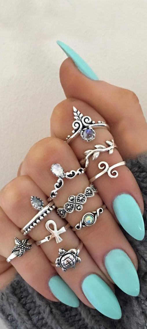 Bohemian Rings, Bohemian Nails, Bohemian Summer, Midi Rings, Almond Nails, Almond Acrylic Nails, Silver Rings, Fashion Jewelry