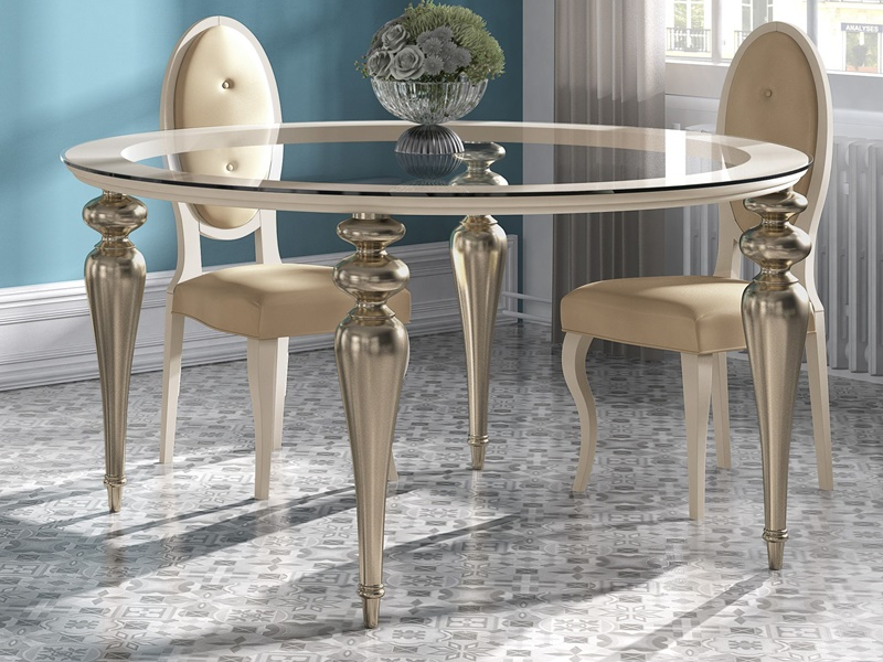 Roung Dinning Table With Glass Top Mod Ga1212 Dinning Room Design Dinning Room Decor Dining Room Table Decor