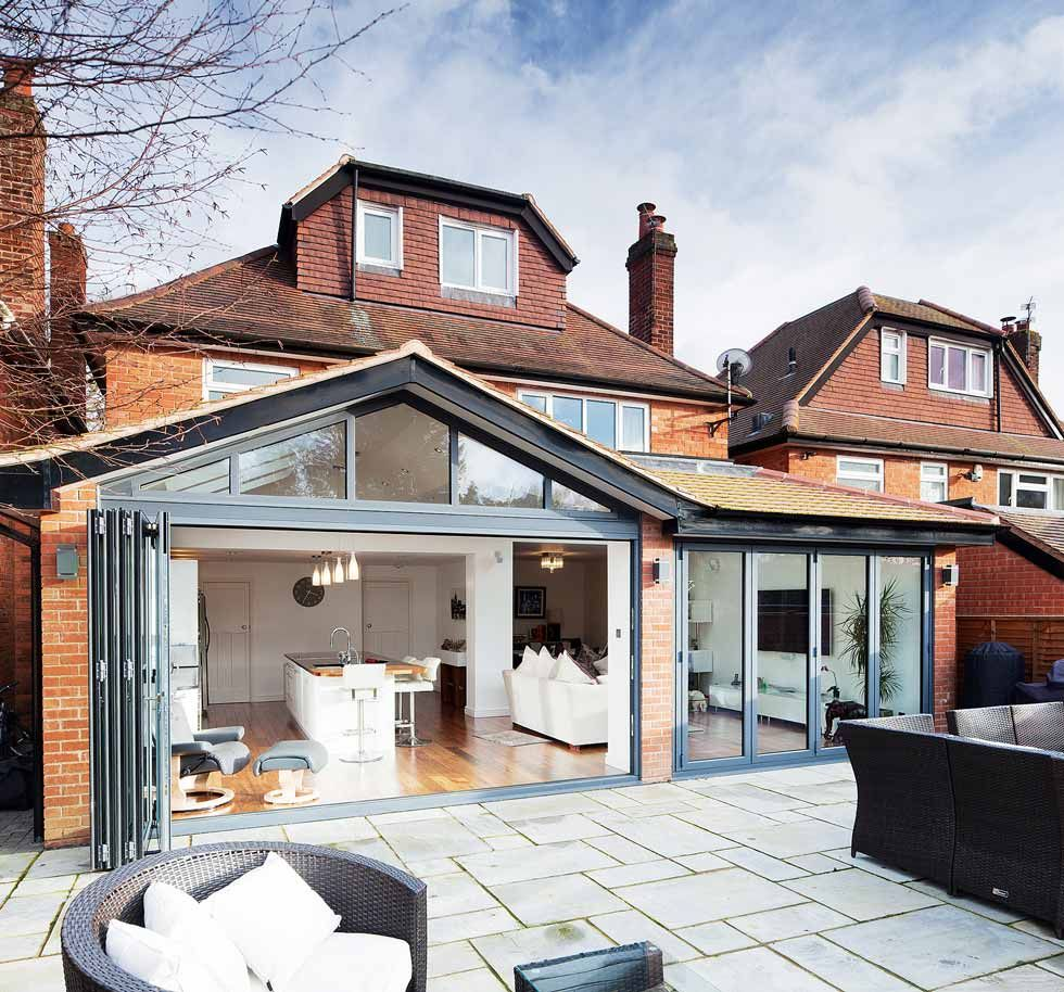 Kitchen Extension Ideas For Bungalows: Dark Powder-coated Aluminium Bifold Doors And Windows