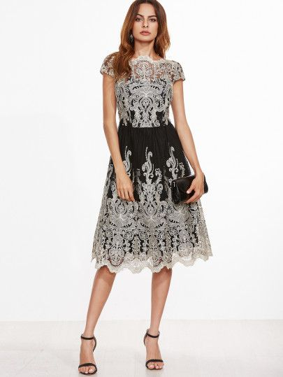 8454b1c523 Contrast Fit And Flare Embroidered Mesh Dress