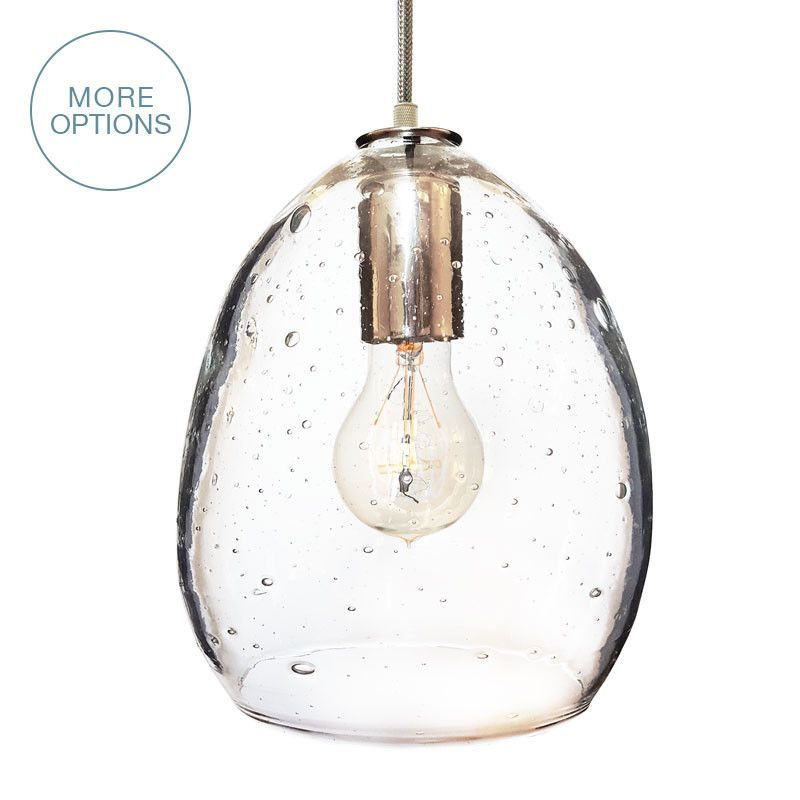 Hand Blown Modern Orb Glass Egg Seeded Glass Pendant Light