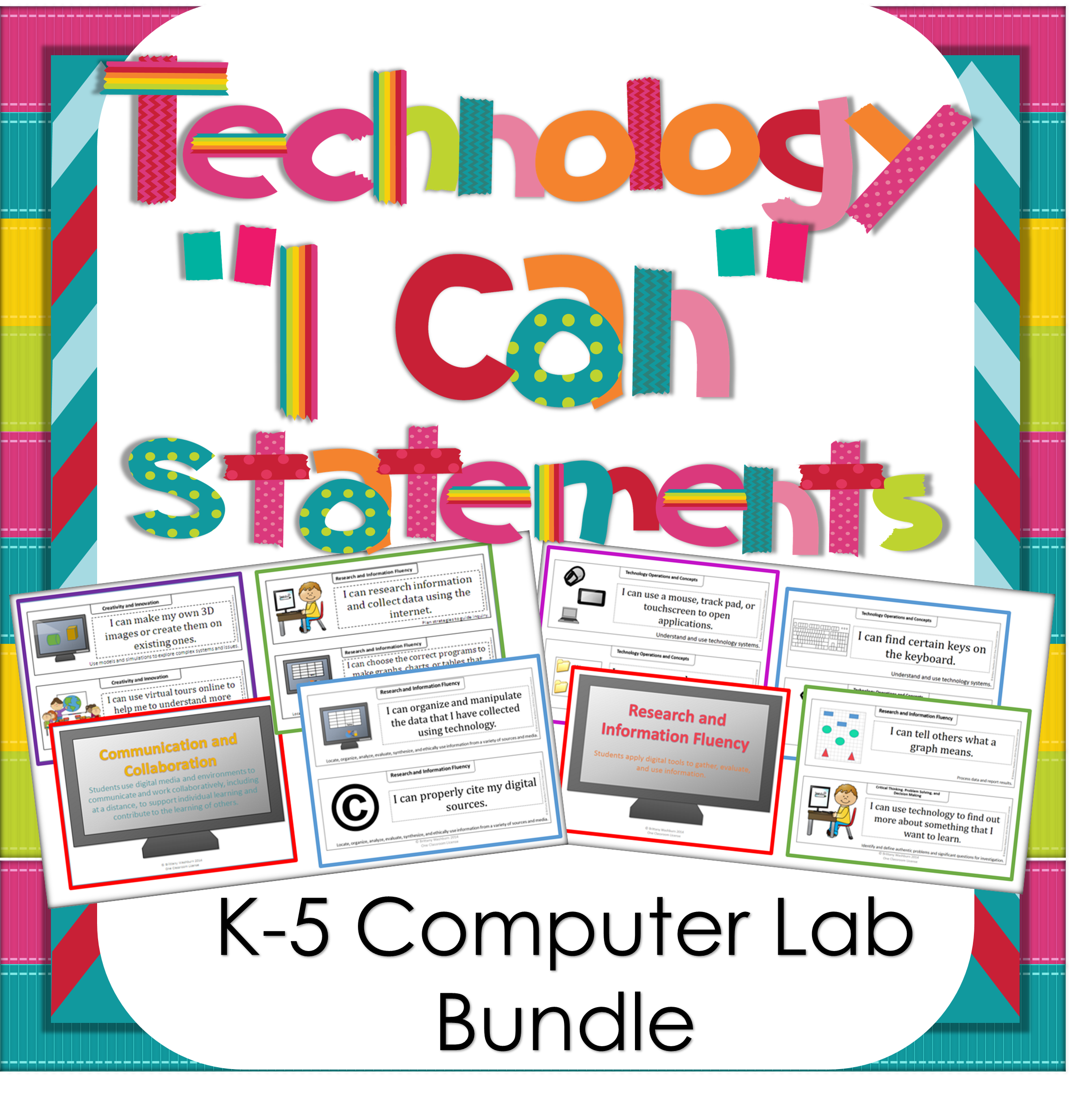 Technology I Can Statements K-5 BUNDLE | Computer lab, Labs and Display