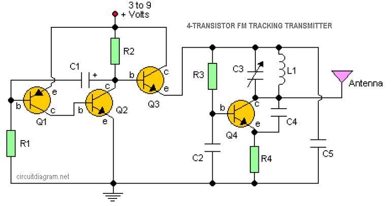 4 transistor fm tracking transmitter schematic design arduino rh pinterest com Homing Transmitter Schematic FM Transmitter Project