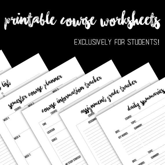 student planner 12 worksheets only black and white instant