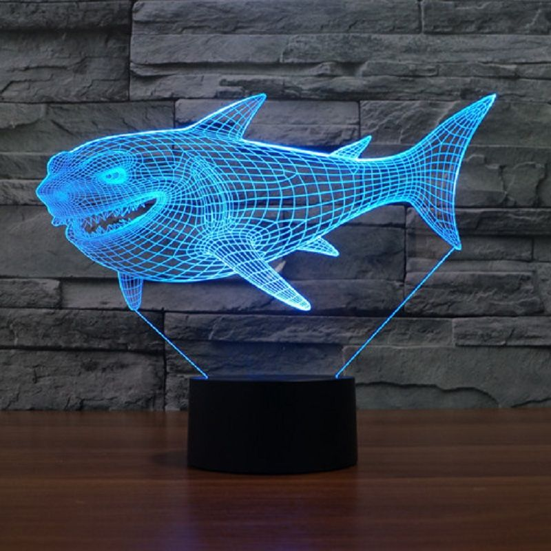 589695dc2 7 Colors Change USB Night Light Touch Button LED 3D Illuminated Shark Lamp  Bedroom acrylic Desk
