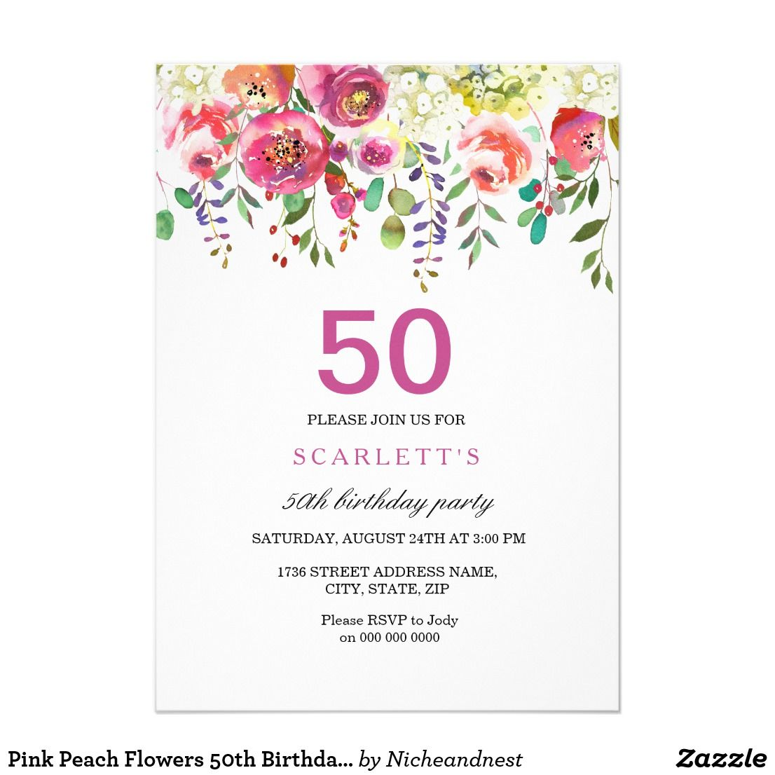 Pink Peach Flowers 50th Birthday Party Invitation | 50th birthday ...