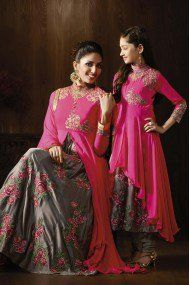 19fdbc876764 Mother And Daughter Georgette Party Wear Anarkali Suit In Pink And Grey  Colour
