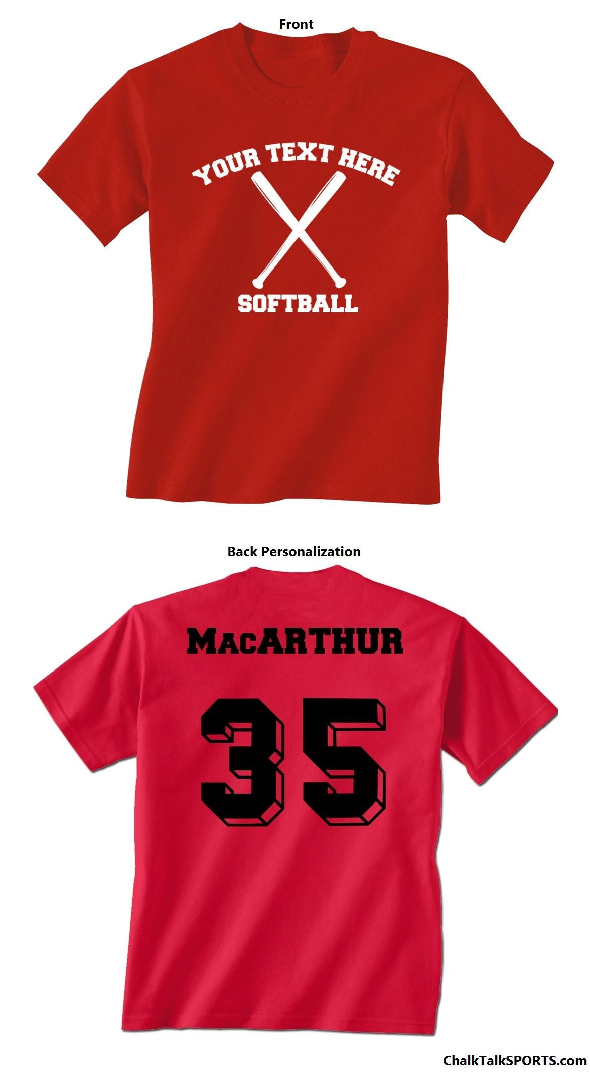 a810d4ff1 Create your own custom softball t-shirt! Add personal text - your name,  team name, number, a year, and so much more! Choose to personalize the back of  your ...