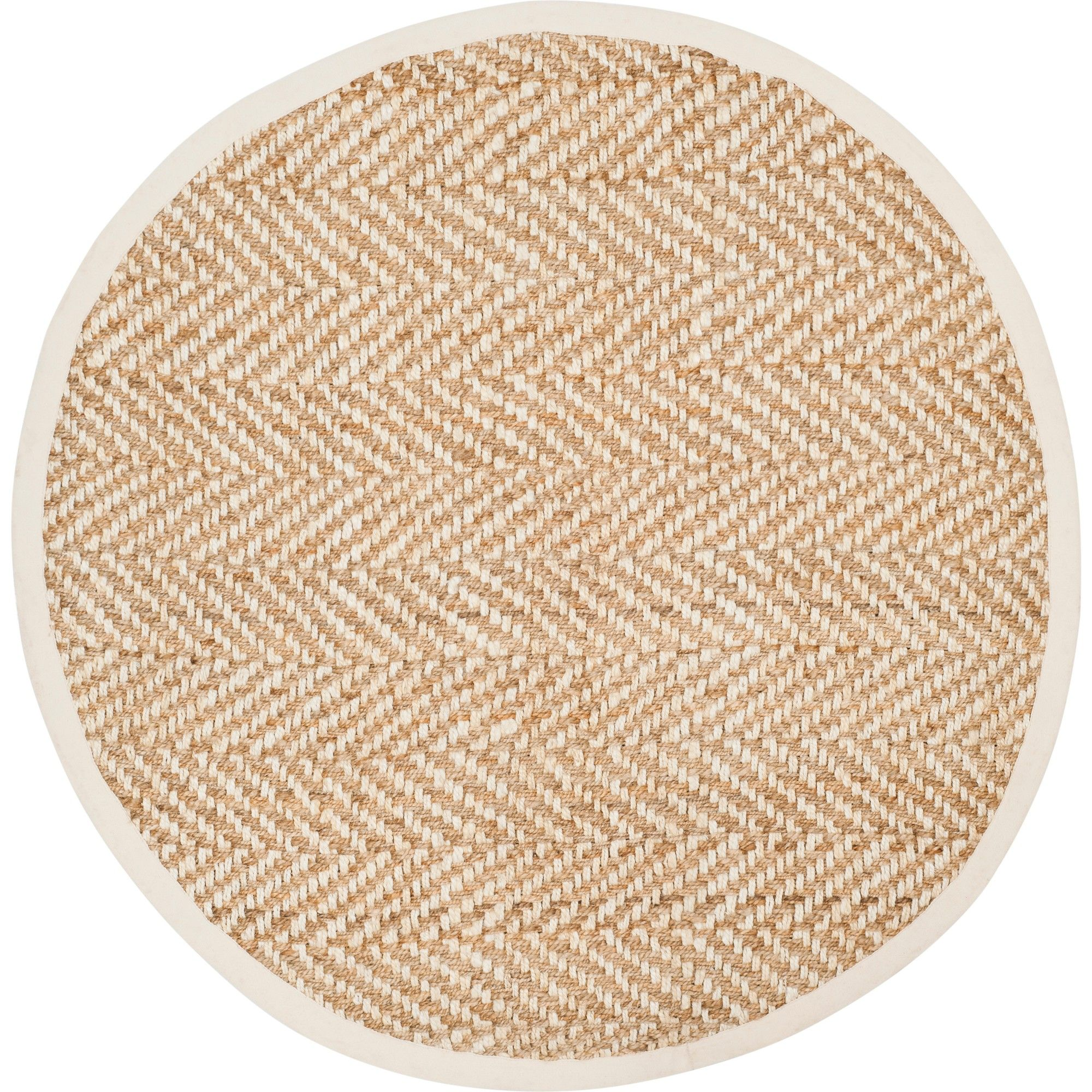 4 Solid Woven Round Area Rug Ivory Natural Safavieh Size 4