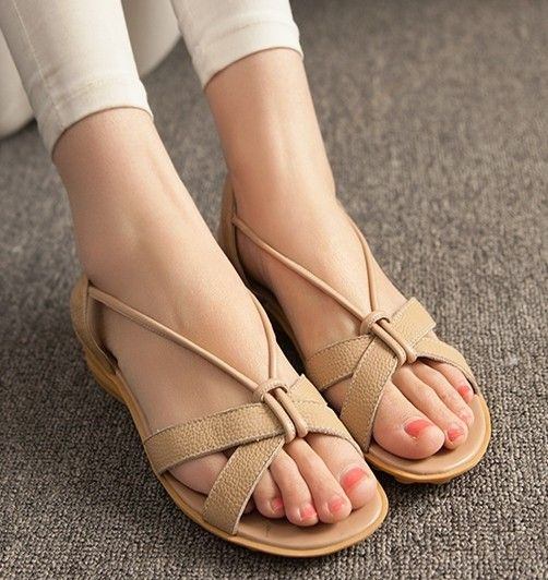 Women new fashion spring Summer casual genuine leather preppy style open  toe sandals flat heels slippers wedges shoes