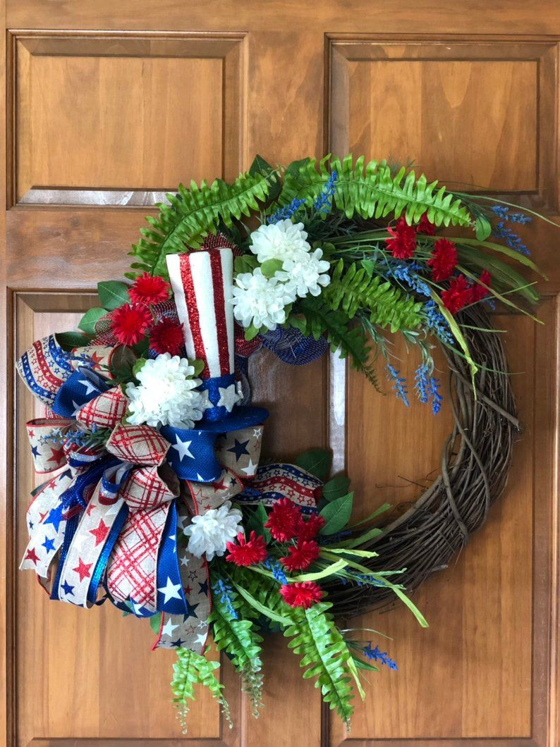 Photo of Patriotic Grapevine Wreath, Rustic Wreath, Summer Wreath for Front Door, Farmhouse Wreath, Country Wreath, Best Grapevine Wreath