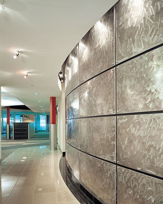 Curved Stainless Steel Wall Panels Wall Panels Lobby Design