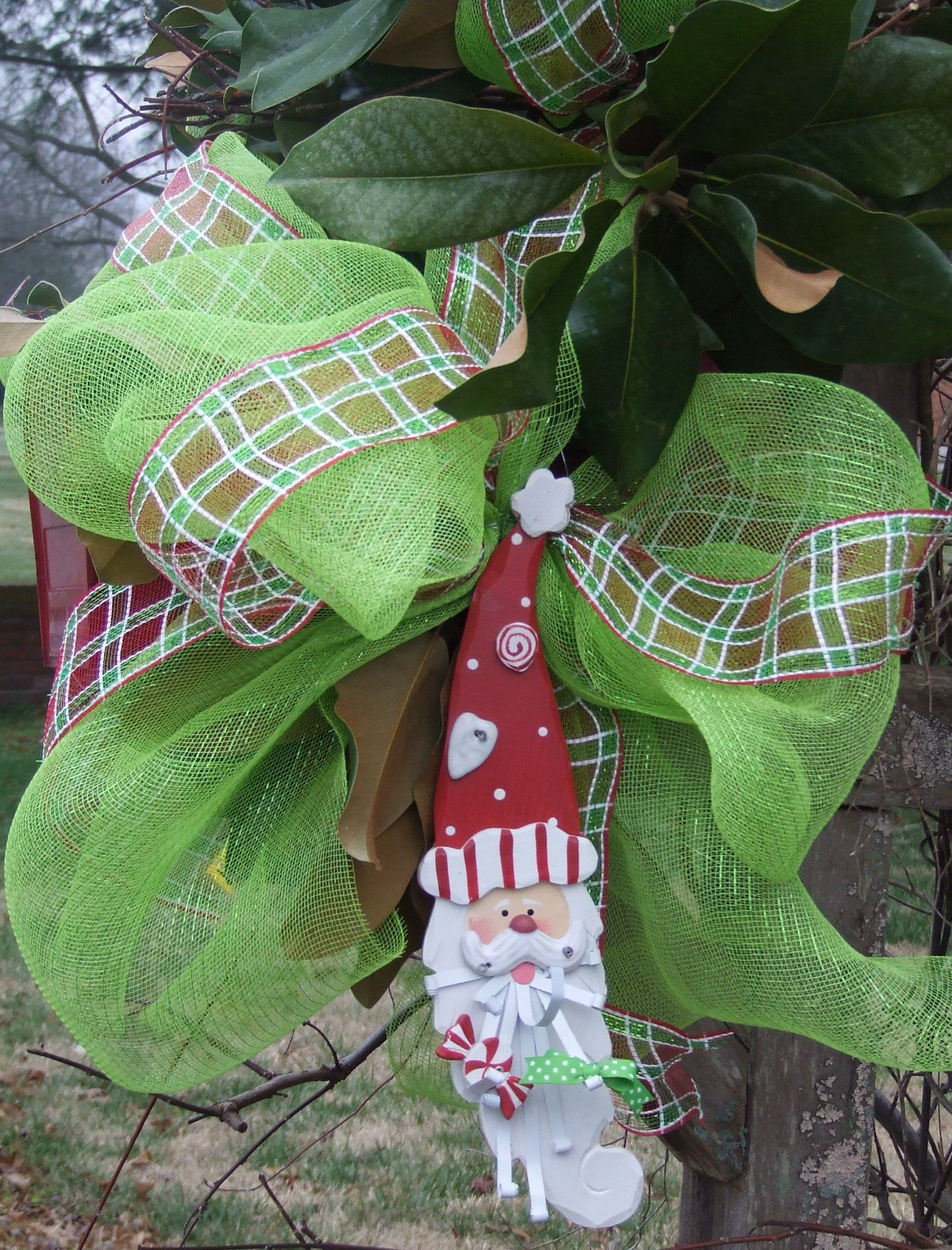 lime green deco mesh with whimsical wooden santa and plaid ribbon christmas mailbox