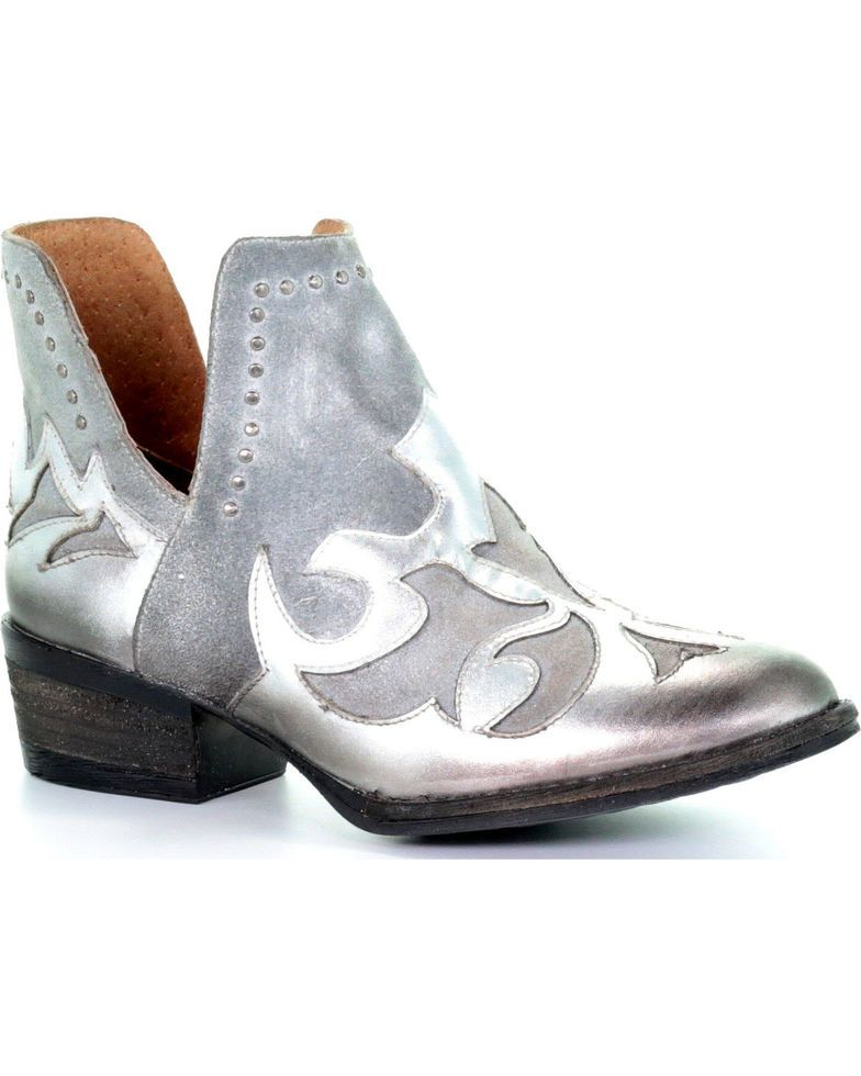 cbd6b886ebc Circle G Women's Silver Overlay Cut Out Booties - Round Toe, Silver ...