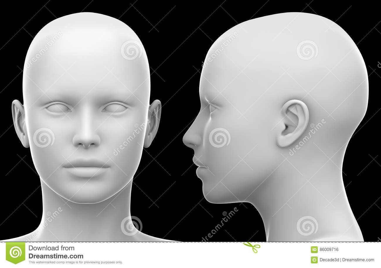 Blank White Female Head
