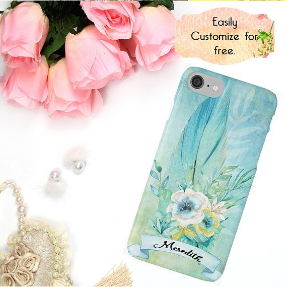 Blue Boho iPhone Case Feather Flower Watercolor Phone Case