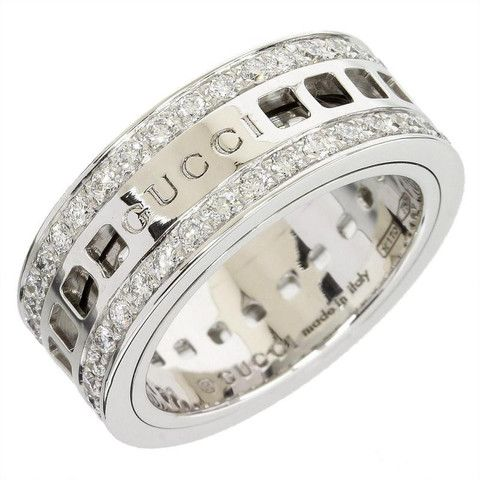 78e45d02b Gucci 18K White Gold Diamond Scroll Ring 5.75 With Box | Gucci in ...