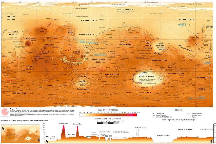 Planisphère détaillé de la planète Mars réalisé grâce aux