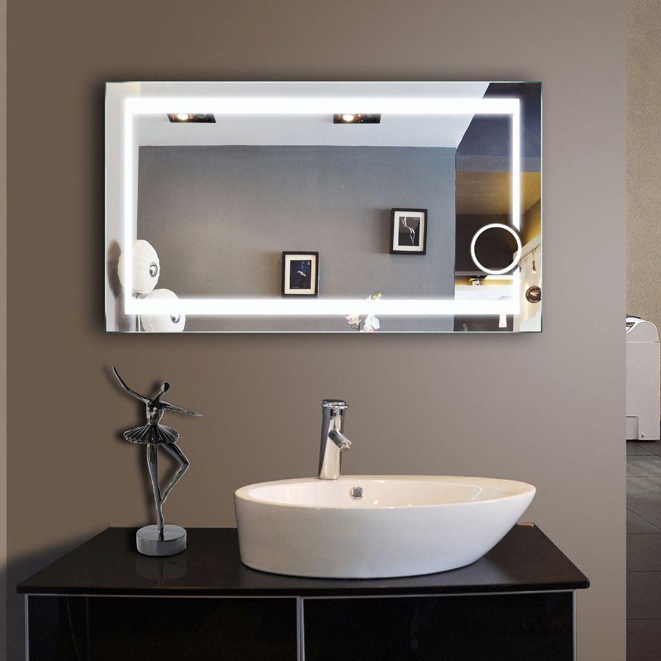 Paris Mirror 46 X 27 Aurora Touchless Led Illuminated Bathroom Mirror Beyond The Rack Bathroom Mirror Backlit Bathroom Mirror Large Bathroom Mirrors