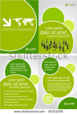 Advertising Brochure Template Green Template For Advertising Brochure With Business People  Stock .