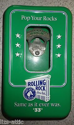 Vintage Rolling Rock Beer Promo Metal Bottle Opener Wall Mounted Sign Display 33 Rolling Rock Beer Rolling Rock Bottle Opener Wall