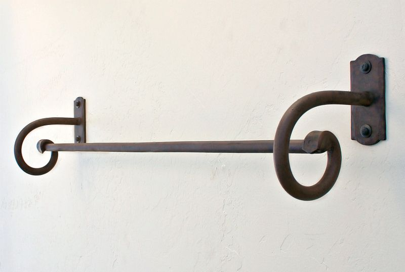 Wrought iron towel bars hooks and racks our wrought iron - Wrought iron towel racks bathroom ...