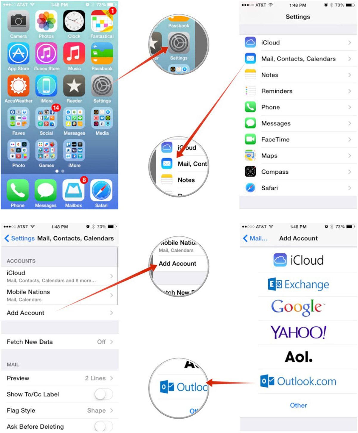 Setting up Outlook mail, calendars and contacts on iPhone