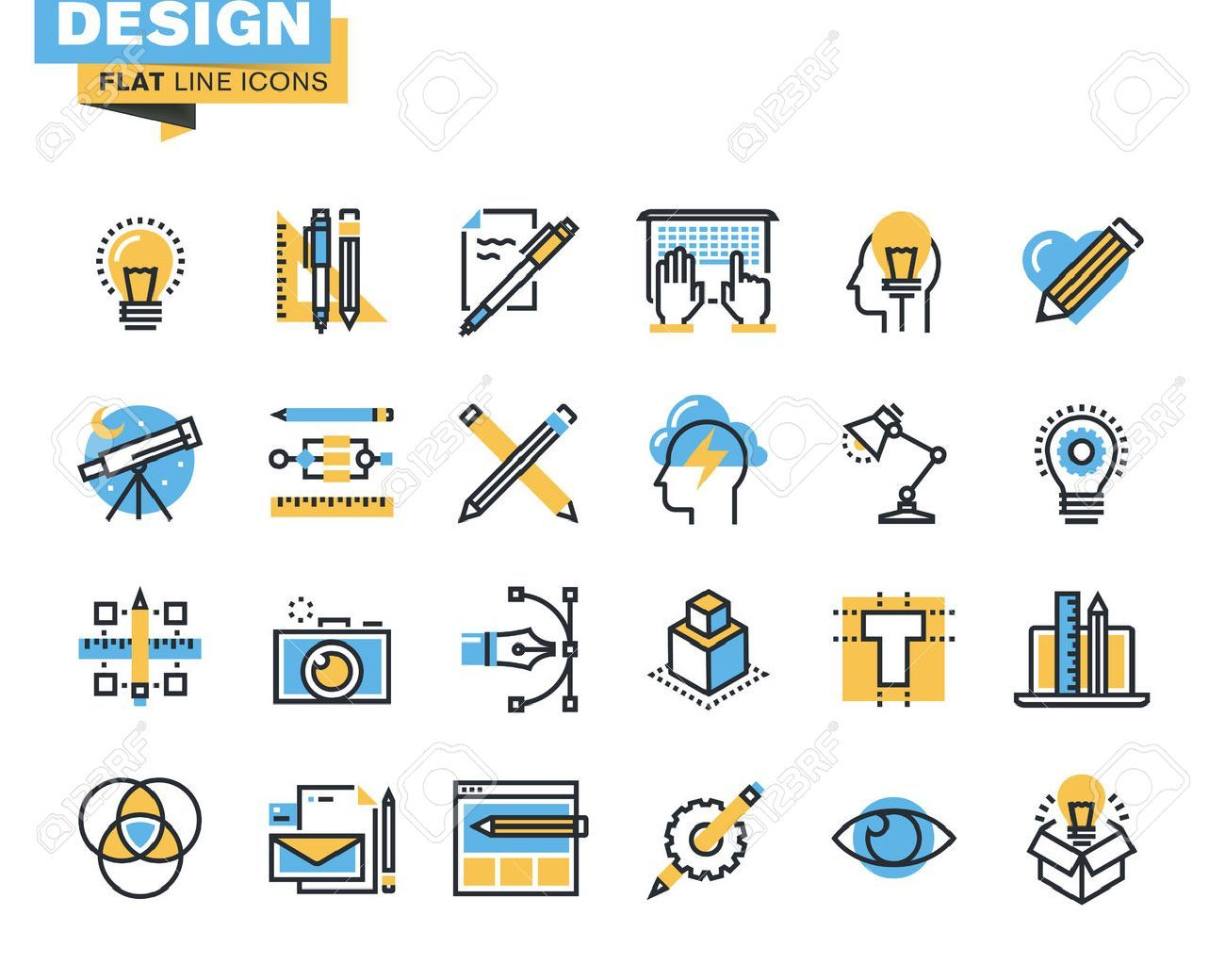Vector Trendy Flat Line Icon Pack For Designers And Developers Icons For Graphic Design Web Design And Developm Line Icon Web Development Design Web Design