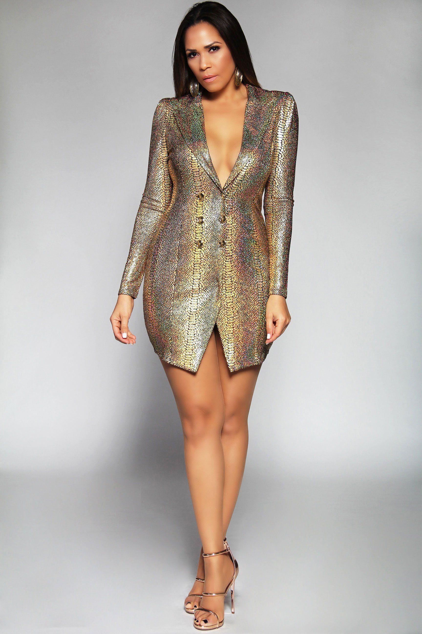 Emery gold metallic long sleeve asymmetrical blazer mini