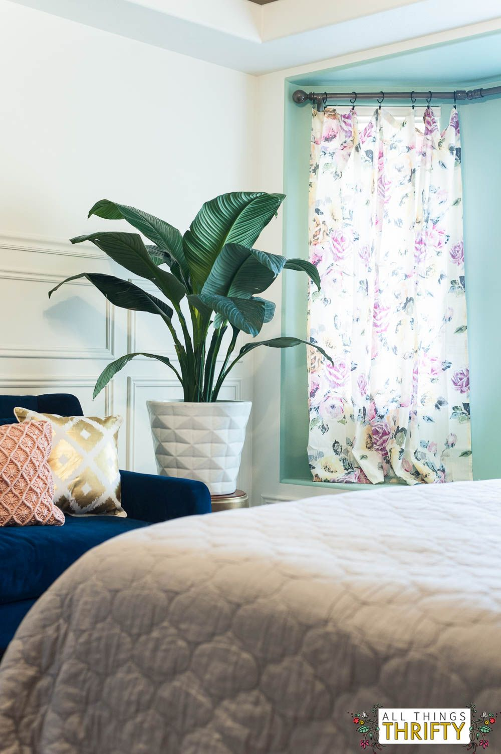 Navy, Blush, Yellow, and Green Master Bedroom Refresh ...