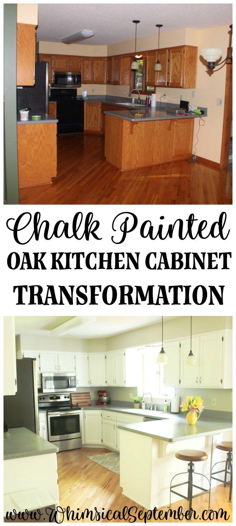 Chalk Painted Kitchen Cabinets: From Honey Oak to White #darkkitchencabinets