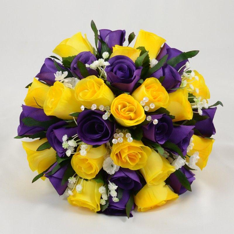 Yellow Purple Artificial Rose Brides Posy Yellow Wedding Theme