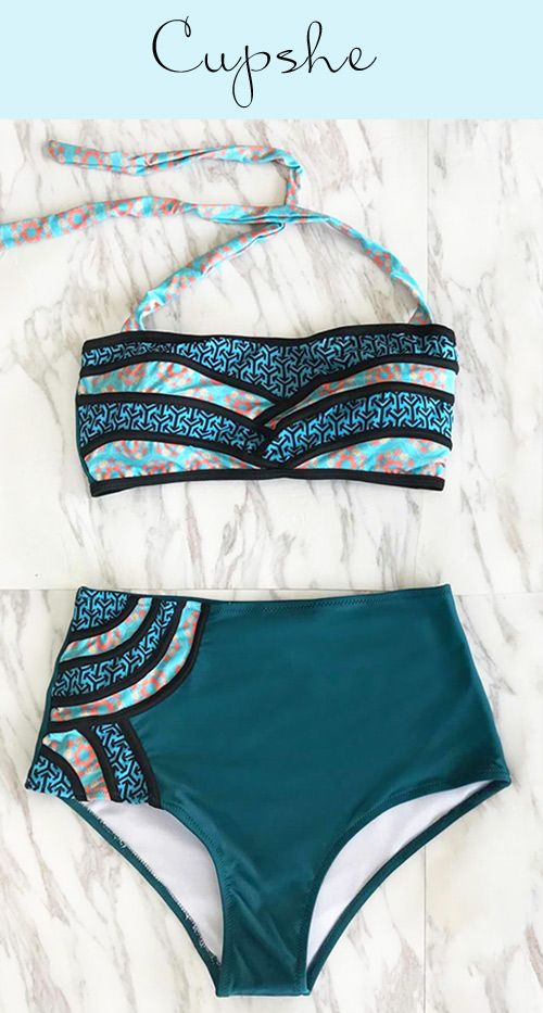 b93a5b5de99 Live life on the beach~ Faster shipping! It has halter design and  high-waisted fit, which can support your perfect body. Just stay in style  with Cupshe ...
