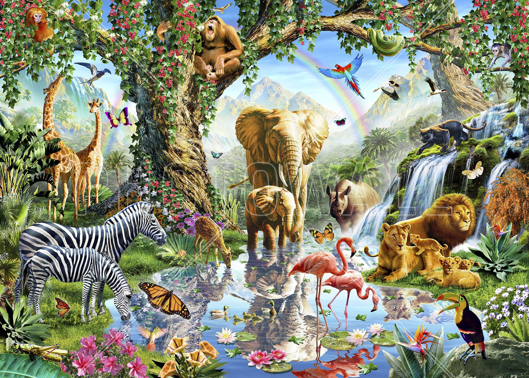 Jungle Lake With Wild Animals Canvas Print & Canvas Art