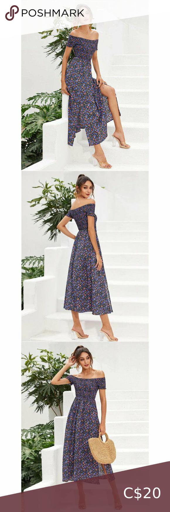 Ditsy Floral Split Thigh Bardot Dress