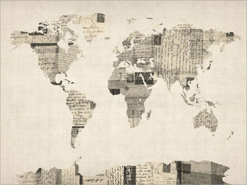 Map of the world from old postcards very cool id like to try sarah lover of cats etc map of the world from old postcards very cool gumiabroncs Image collections