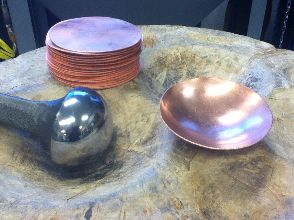 Forming Copper Bowls From Sheet Metal By Hand Sheet