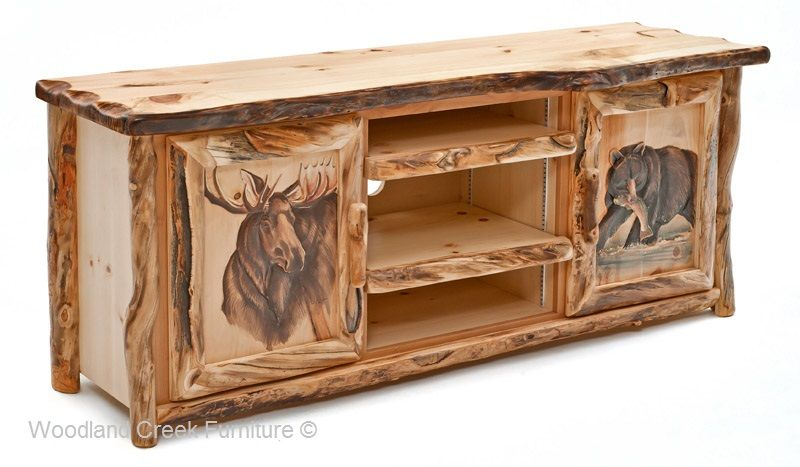 Delicieux Rustic Log Entertainment Center, Log Cabin TV Stand