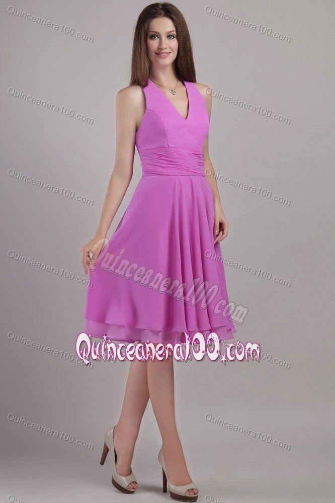 3ec48c0ff723 Lavender Empire Halter Top Knee-length Quince Dama Dresses Ruched ...