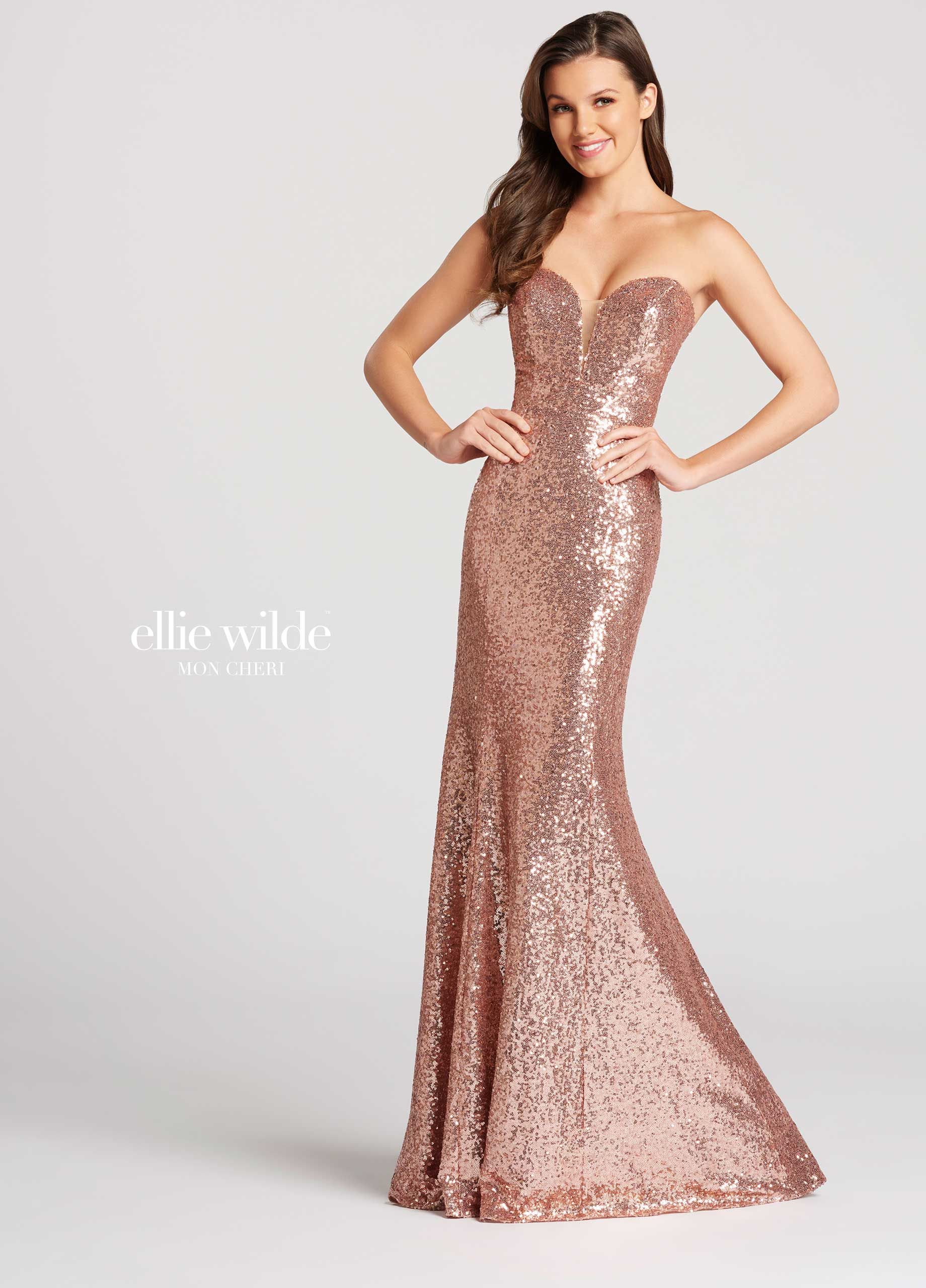 Ellie Wilde Ew117033 Strapless Sequin Fit And Flare Gown Deep Plunging Sweetheart Neckline With Illusion Modesty Panel Slight Train