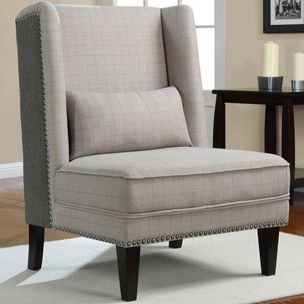 Grey Houndstooth Wingback Chair For Living Room 205 19