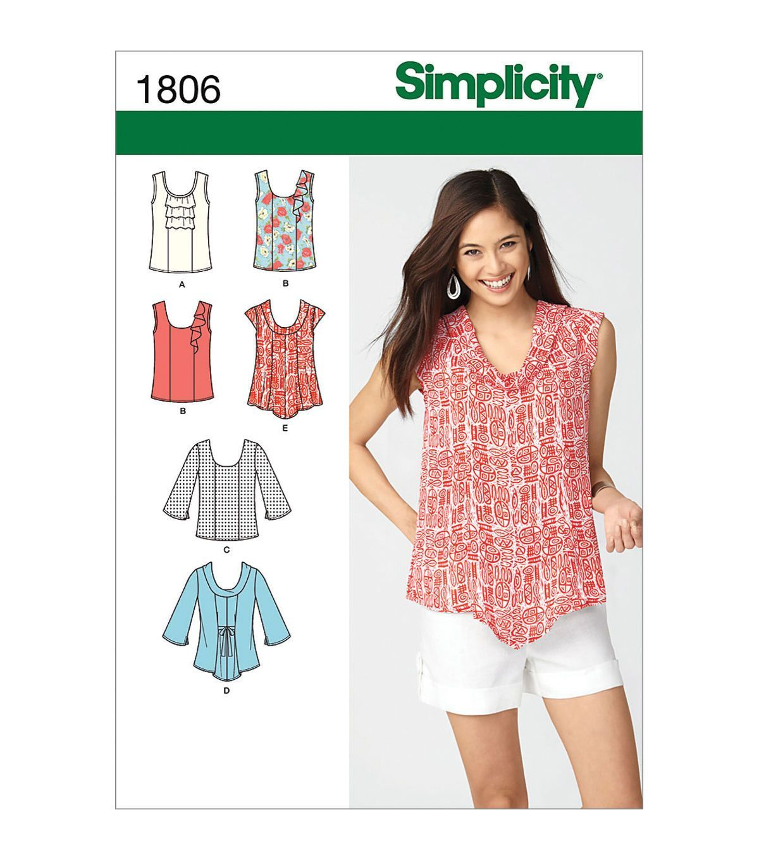 Simplicity Patterns Us1806U5-Simplicity Misses Tops Vests-16-18-20 ...